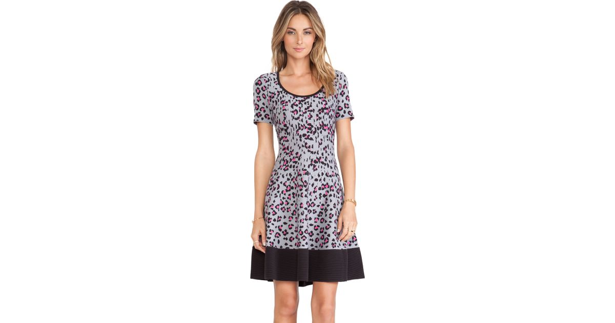 72db60350db Lyst - Kate Spade Cyber Cheetah Sweater Dress in Gray