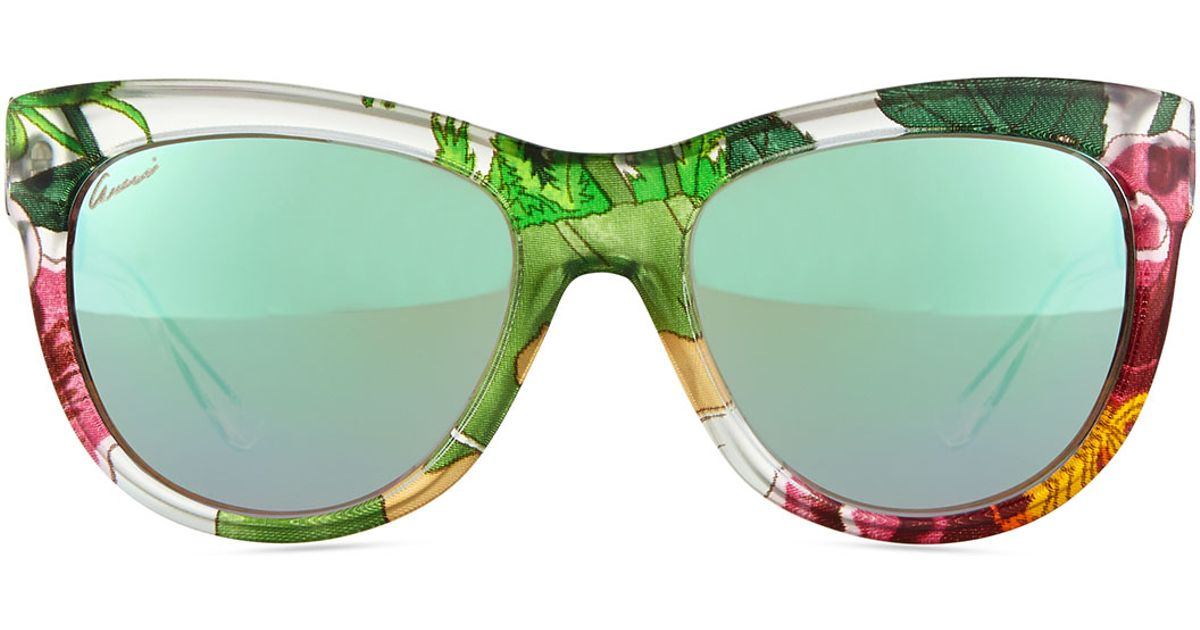 f282f4b3406c3 Gucci Multicolor Floral-Fabric-Embed Butterfly Sunglasses