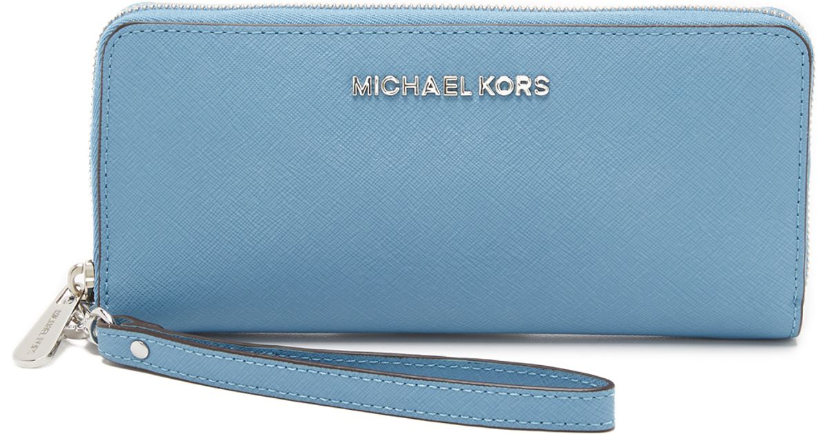 c7aaca2d75b5 MICHAEL Michael Kors Jet Set Travel Continental Wallet in Blue - Lyst
