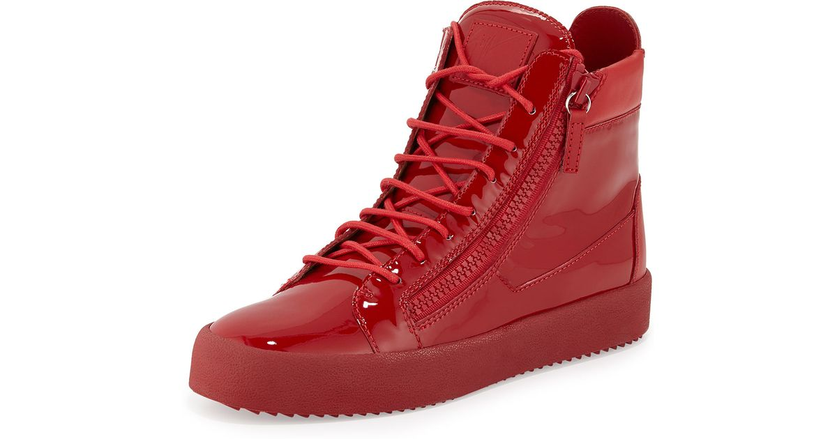 Giuseppe Zanotti Patent Leather High Top Sneakers In Red