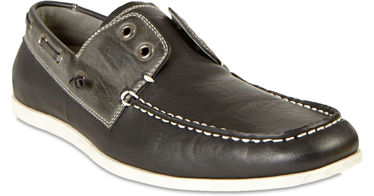 2b5c8a89578 Steve Madden Black Madden Gamer Laceless Boat Shoes for men