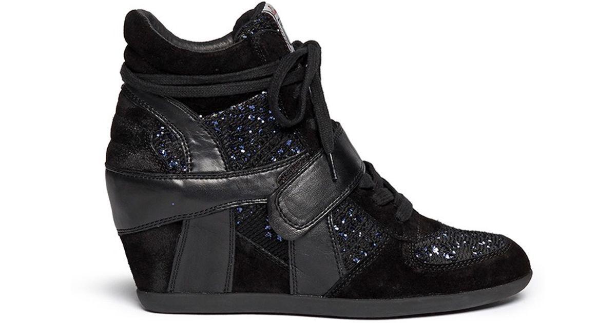 9af99c3c10b Ash - Black  bowie  Sequin Crochet High Top Wedge Sneaker - Lyst