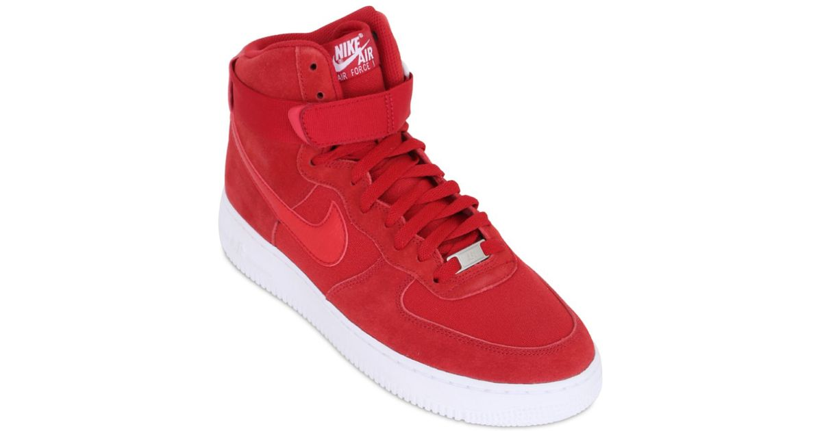best service b2395 4cee5 Nike Red Air Force 1 Suede High Top Sneakers for men