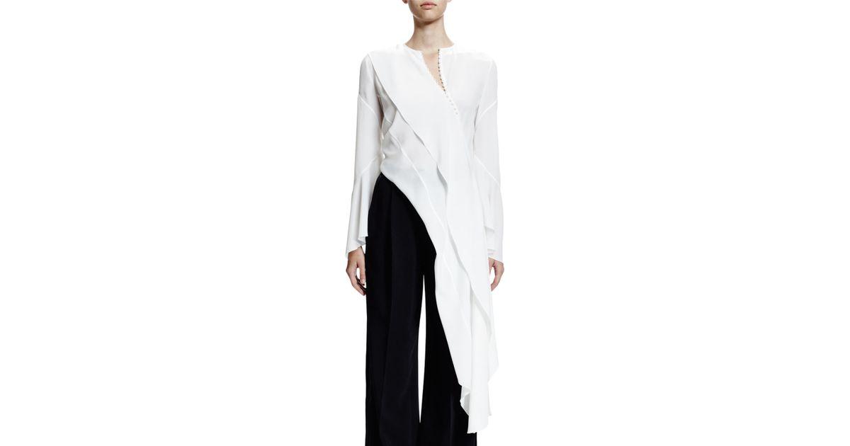 58cce3edec Givenchy White Long-sleeve Asymmetric Cascade Top
