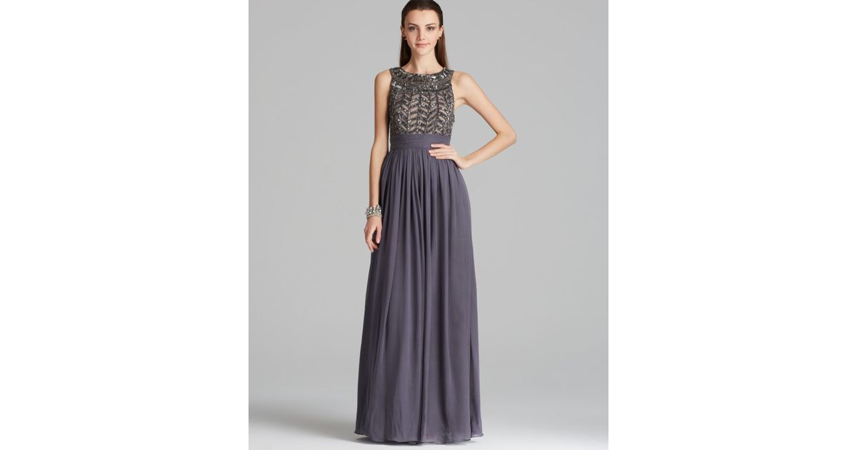 Js Collections Beaded Bodice Chiffon Gown - Gladiator in Gray - Lyst