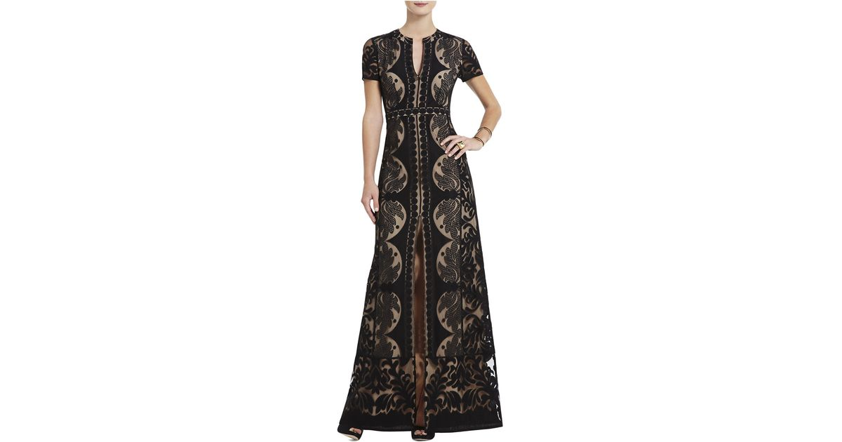 56b74ff23768 Lyst - Bcbgmaxazria Cailean Lace Maxi Dress in Black
