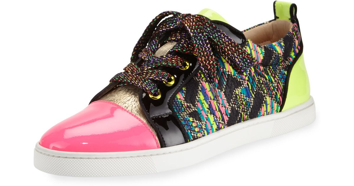 72f5b69af93 ... top quality lyst christian louboutin gondoliere woven low top sneaker  90d61 e8bf9