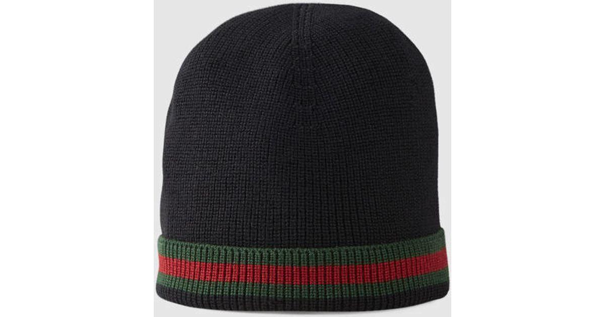 Lyst - Gucci Knit Wool Web Hat in Black for Men 7f9335c9495