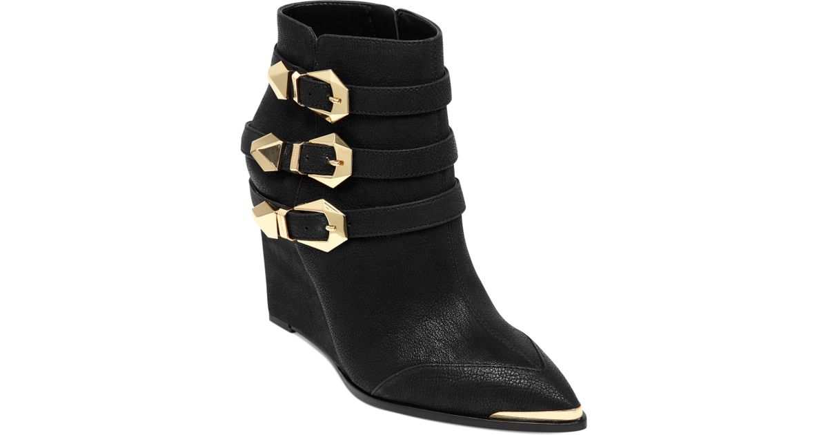 3b7963f275684 Vince Camuto Kannon Buckle Wedge Booties in Black - Lyst