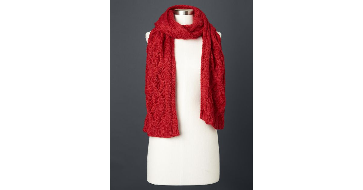 gap solid cable knit scarf in modern lyst