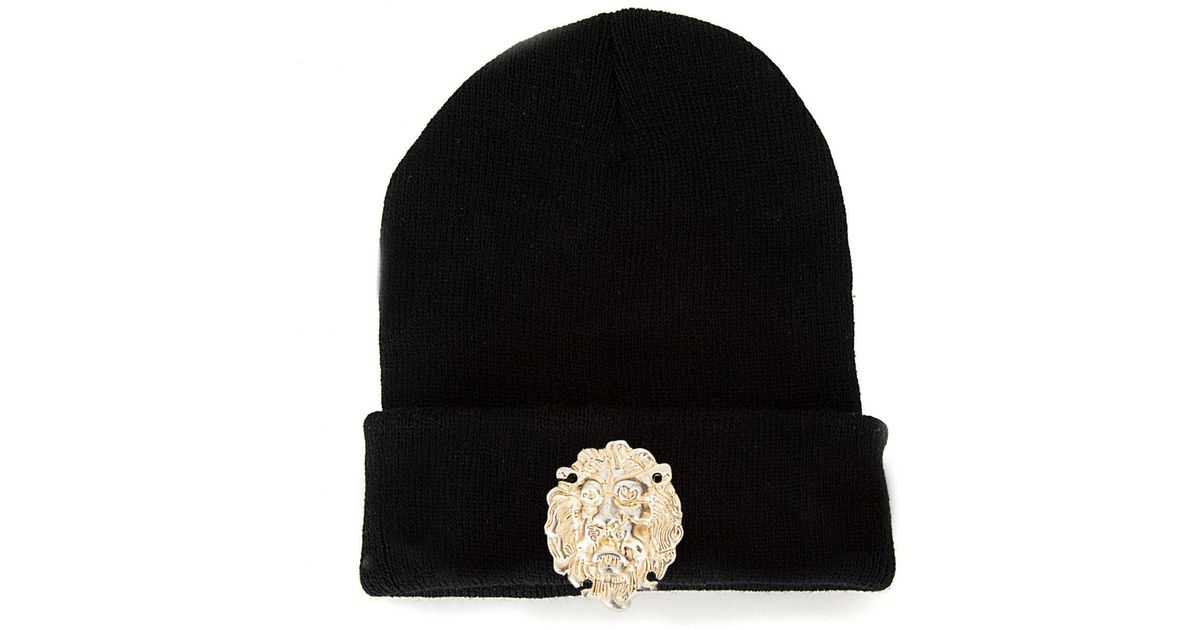 Missguided Lion Head Beanie Hat in Black - Lyst 0b251d429467