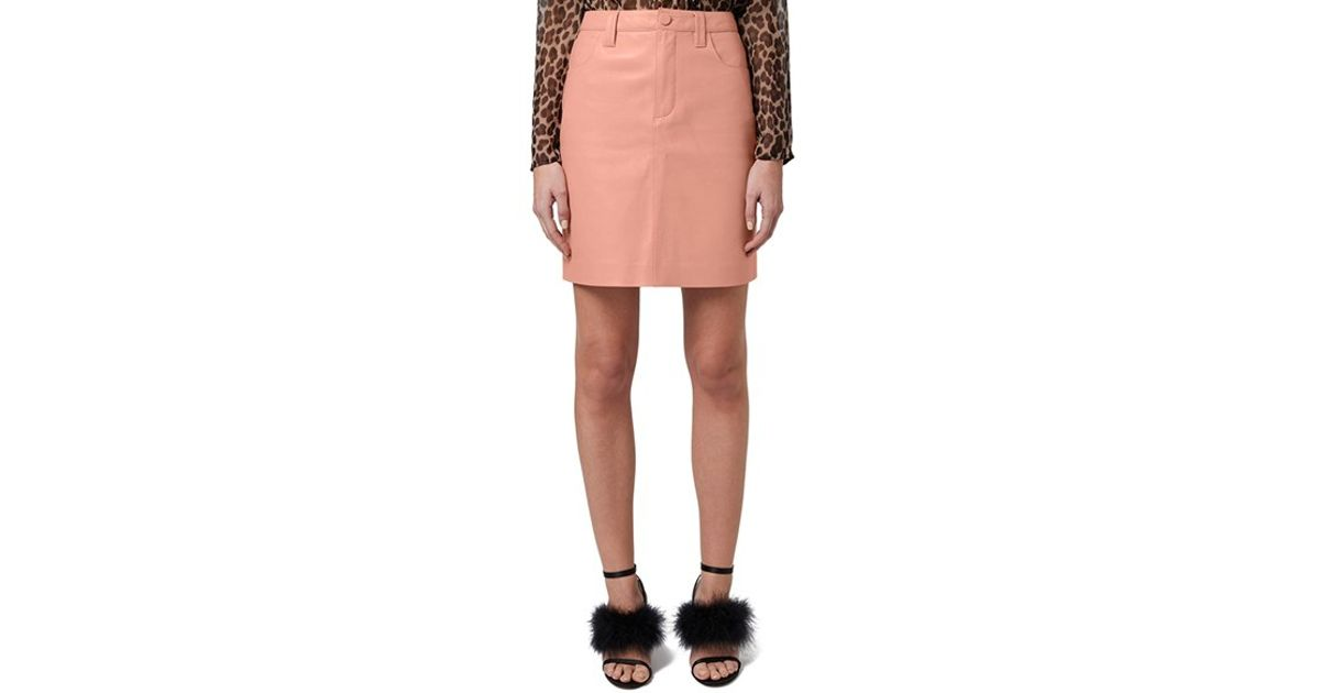 topshop unique draycott leather skirt in pink lyst
