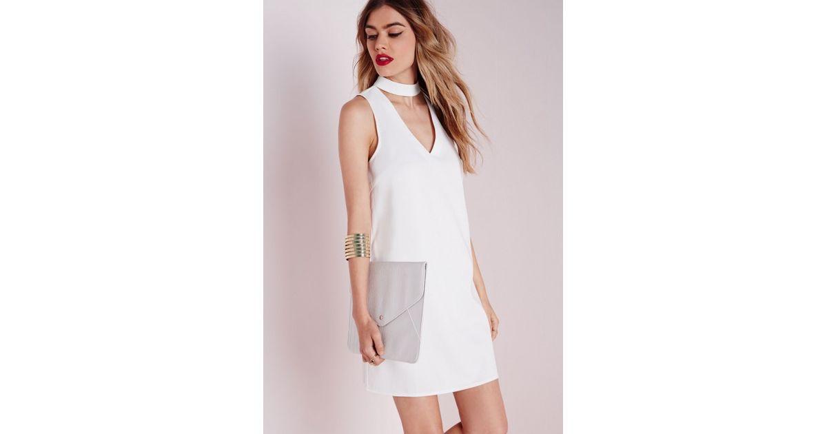 f339f30f4dbe Lyst - Missguided High Neck V Plunge Shift Dress White in White