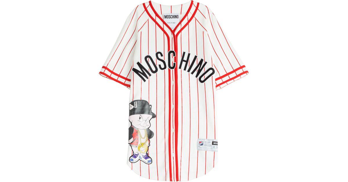 Moschino baseball jersey t shirt dress multicolor in for Baseball jersey shirt dress