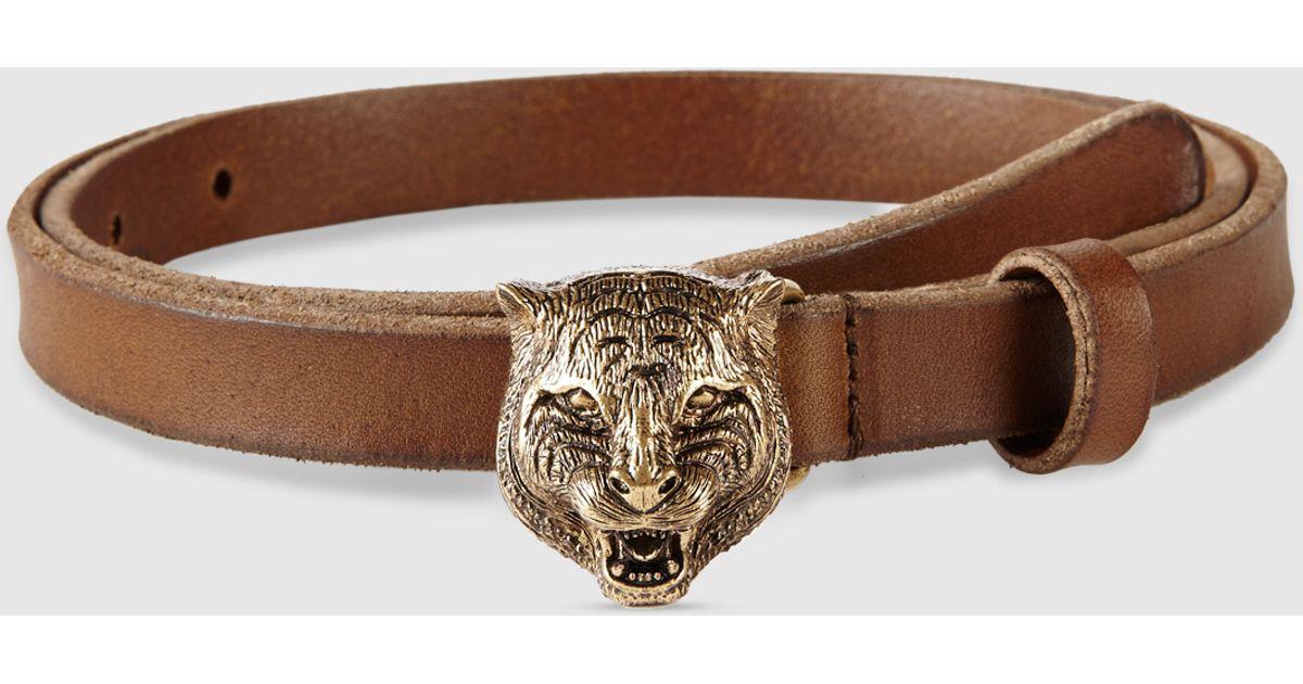b1786e05275 Lyst - Gucci Skinny Belt With Feline Buckle in Brown