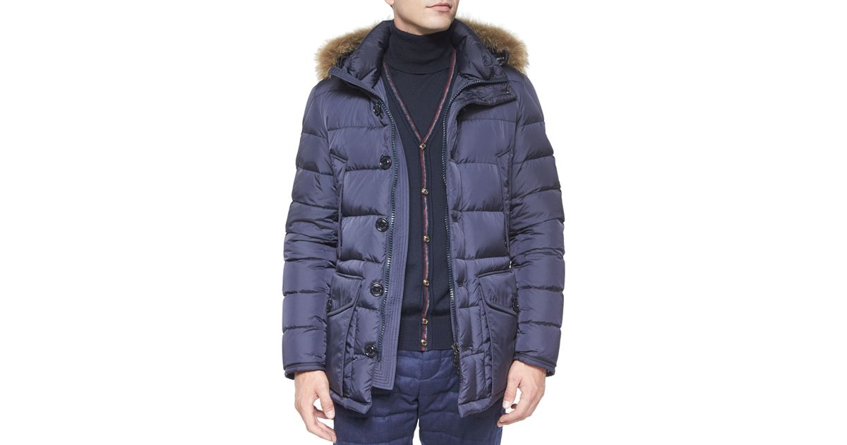 a173eee0c Moncler Blue Cluny Nylon Puffer Jacket With Fur Hood for men