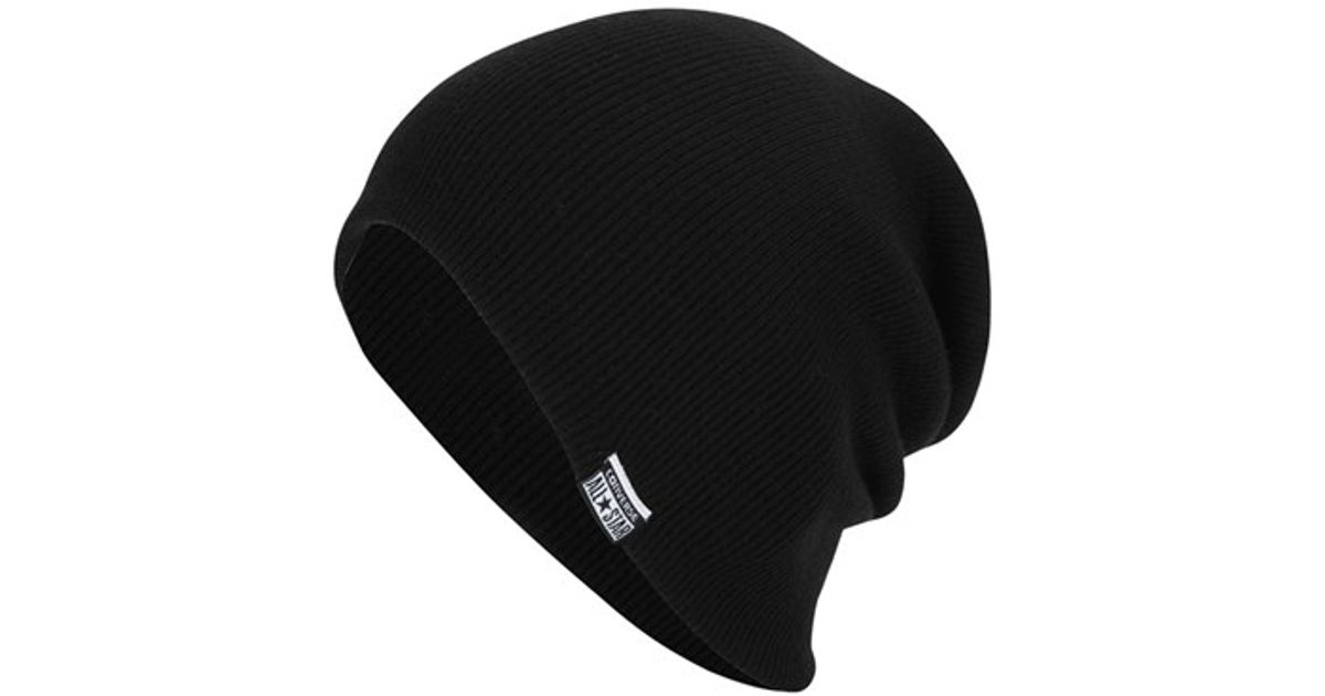 Lyst - Converse Slouchy Rib Knit Beanie in Black for Men 71bf15886d9