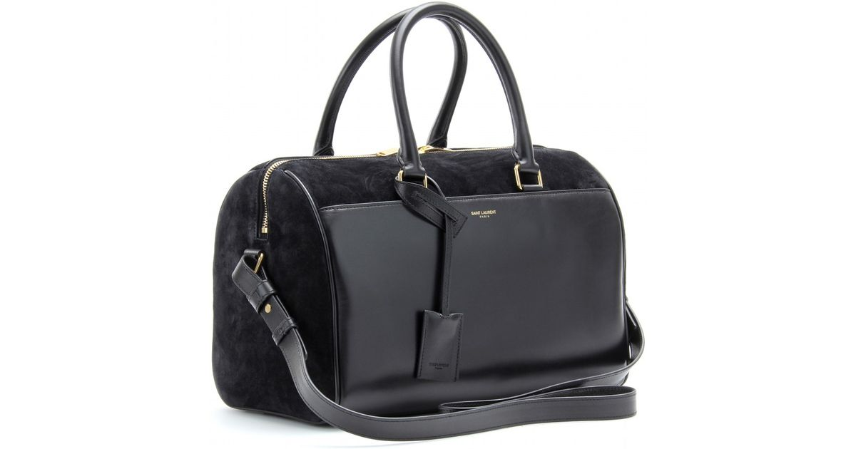 77dd56da Saint Laurent Black Duffle 6 Leather And Suede Bowling Bag