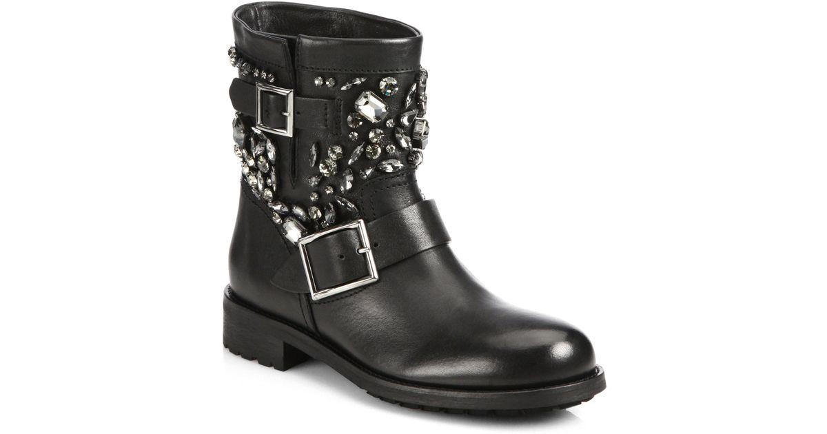jimmy choo studded leather biker boots in black lyst