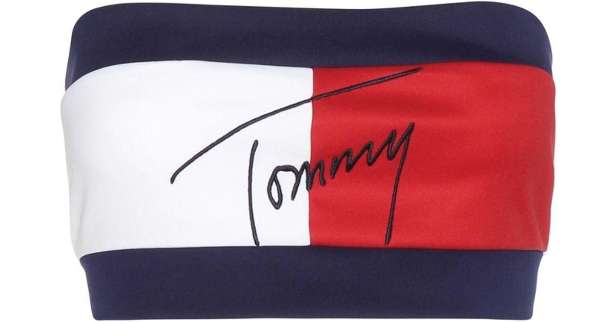 mehrere farben 50% Preis achten Sie auf Tommy Hilfiger Blue Mytheresa. Com Exclusive Flag Embroidered Bandeau Top