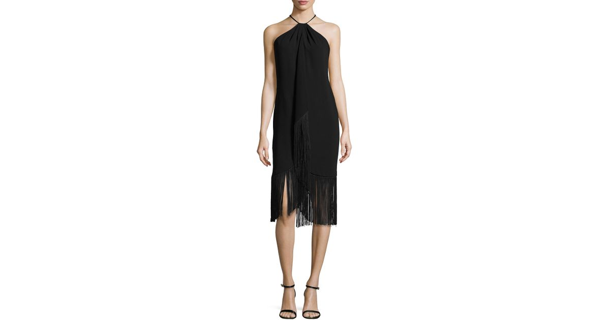 Carmen Marc Valvo Sleeveless Halter Toga Cocktail Dress W