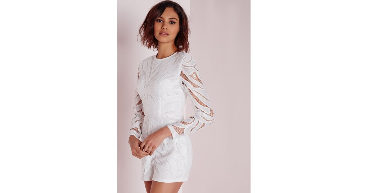 79b24ddb8b6c Lyst - Missguided Long Sleeve Lace Playsuit White in White