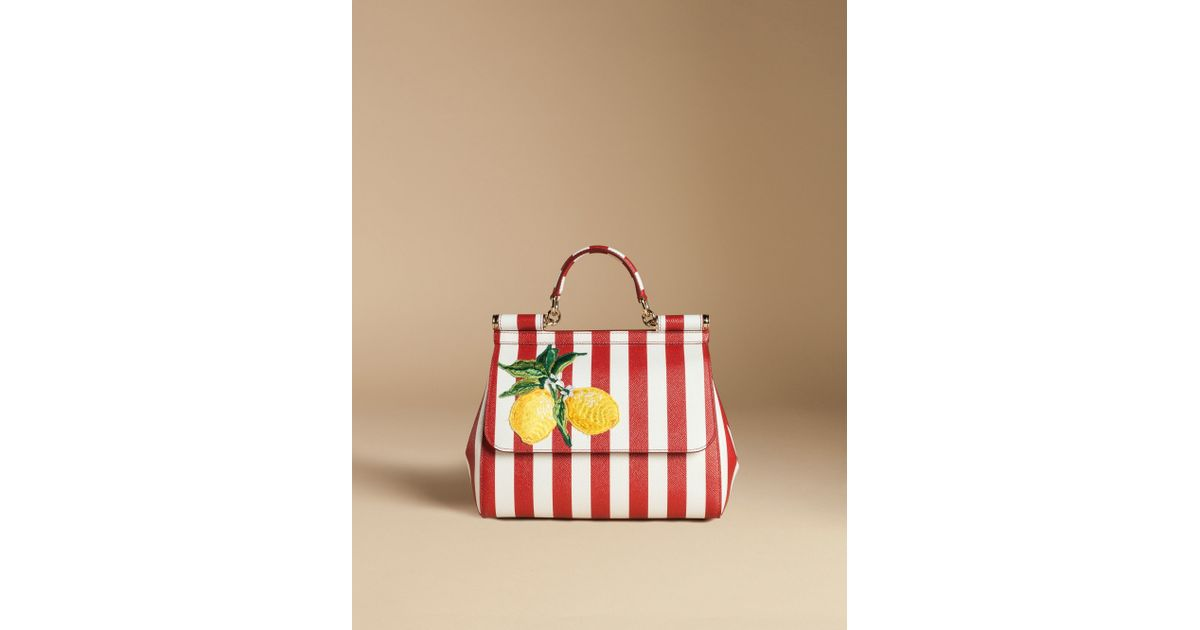 16fb1ed6d94c Lyst - Dolce   Gabbana Medium Sicily Bag In Printed Dauphine Leather With  Embroidery in Red