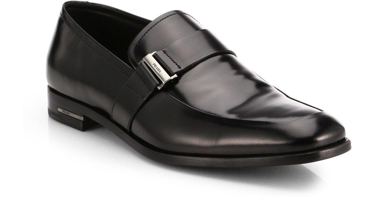 6116782a394e43 ... closeout lyst prada spazzolato buckle loafers in black for men 8e73a  b35b1 real ...