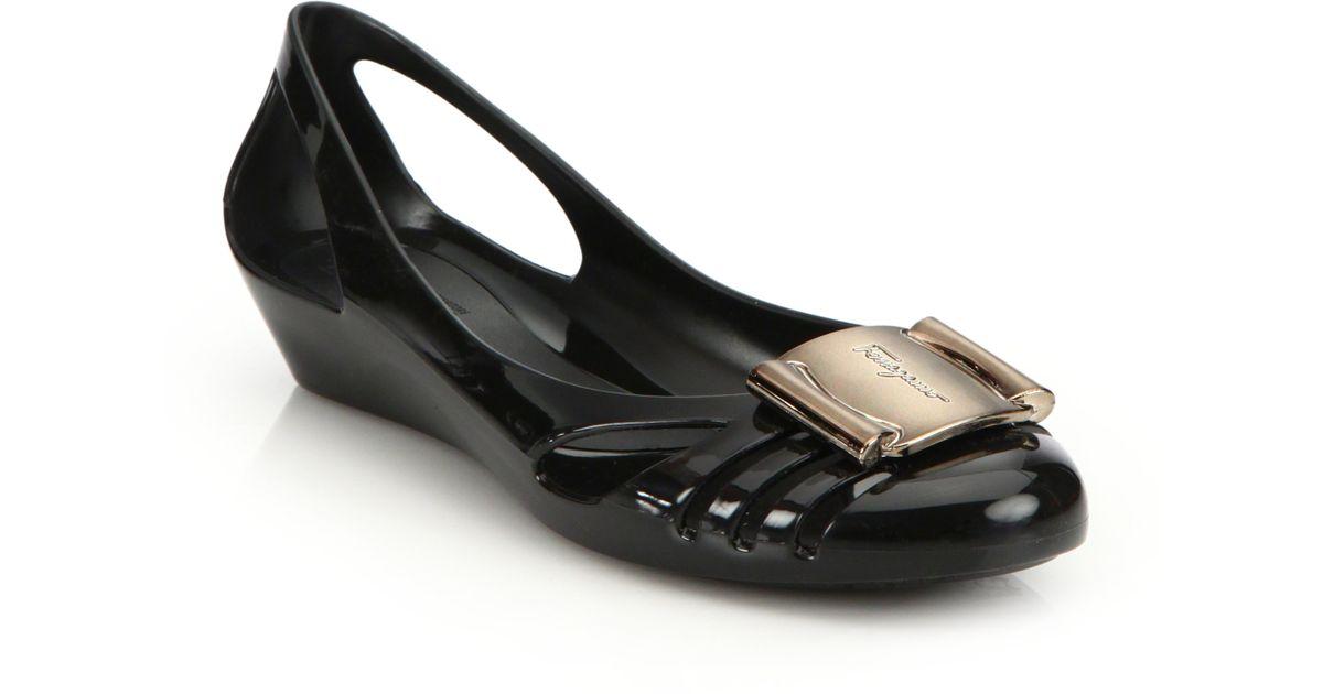 ferragamo bermuda cutout jelly wedge sandals in black lyst