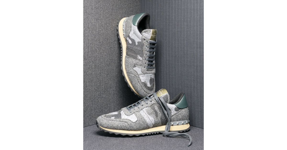 794b2efaf919f Valentino Rockrunner Camo-print Felt Sneaker in Gray - Lyst