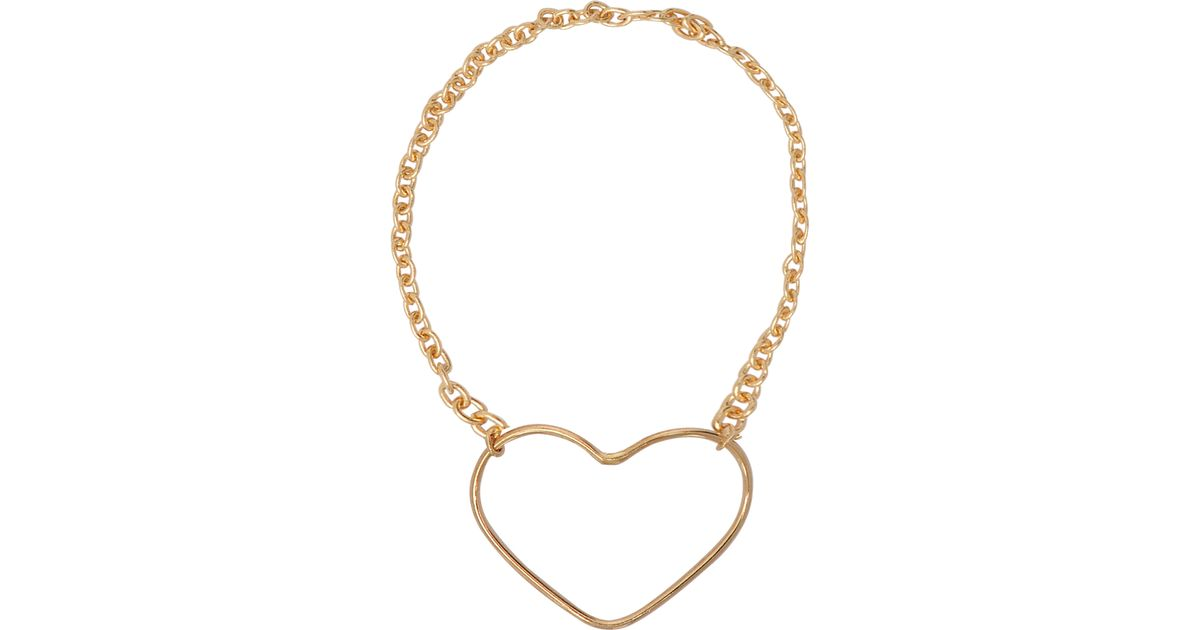 Lyst Vanrycke Heart Outline Chain Ring In Pink Gold in Metallic