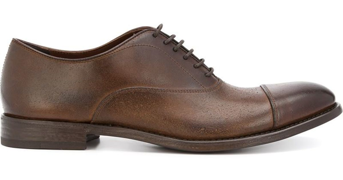 Henderson Stacked Heel Oxford Shoes In Brown For Men | Lyst