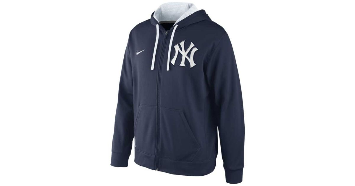 free shipping 44158 18cc3 Nike Blue Men'S New York Yankees Therma-Fit Full-Zip Hoodie Sweatshirt for  men