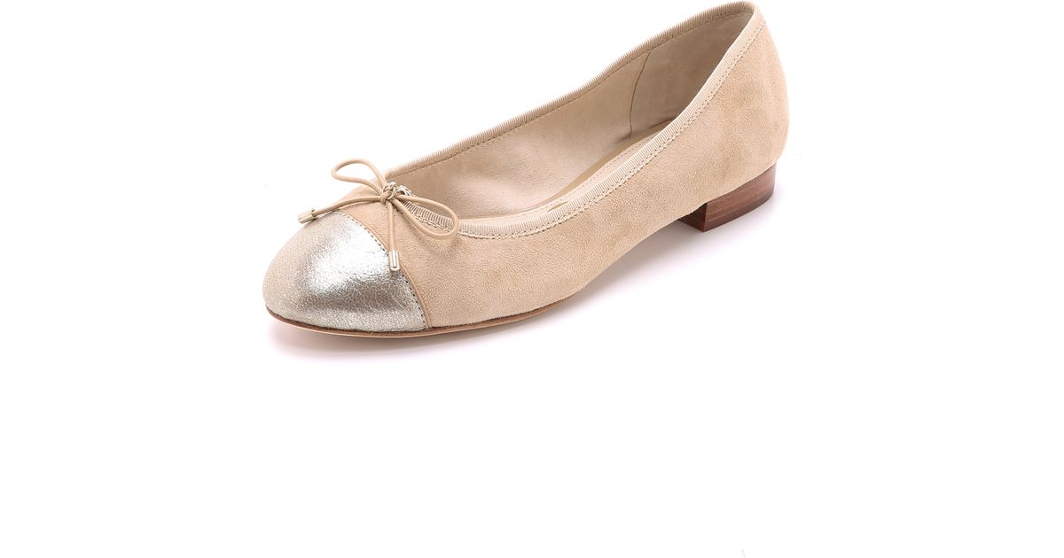 4593fe48db9a Lyst - Sam Edelman Bev Cap Toe Ballet Flats - Gianuia Classic Nude in  Natural