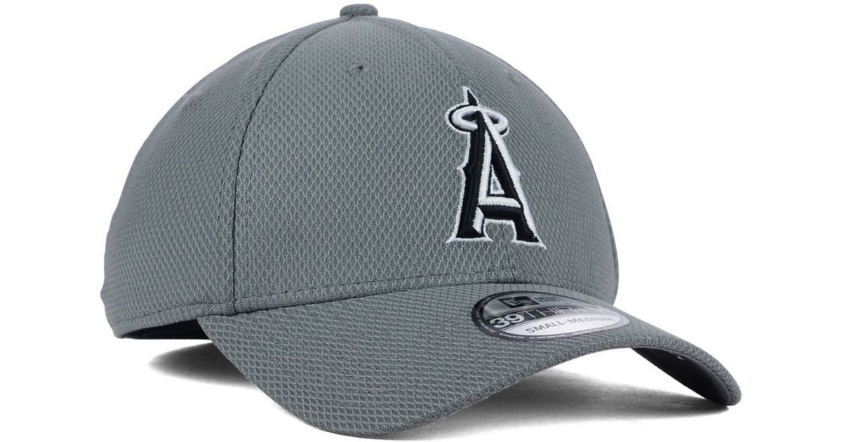 new style fa5f5 1e8fd greece lyst ktz los angeles angels of anaheim diamond era gray black white 39thirty  cap in