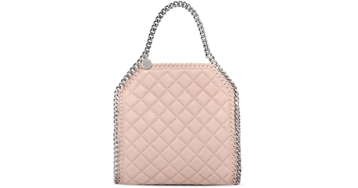 c2a7512474 Lyst - Stella McCartney Falabella Studded Quilted Shaggy Deer Mini Tote in  Pink