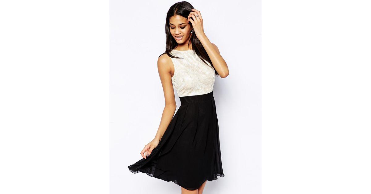 Lyst Little Mistress Floral Sequin Babydoll Prom Dress In Black
