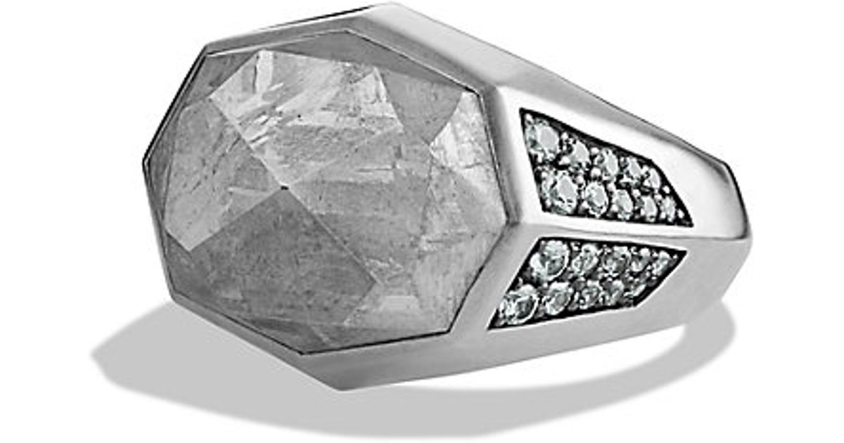 David Yurman Meteorite Signet Ring With Gray Sapphires In