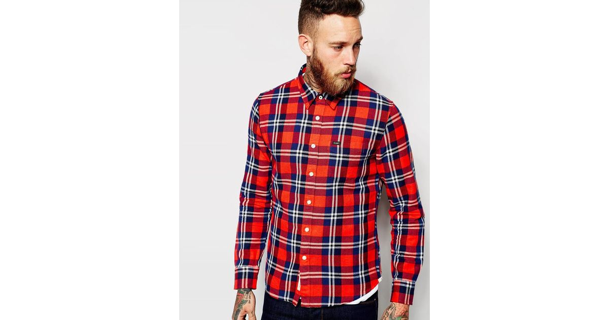 Lee jeans shirt slim fit one pocket flannel check in red for Women s slim fit flannel shirt