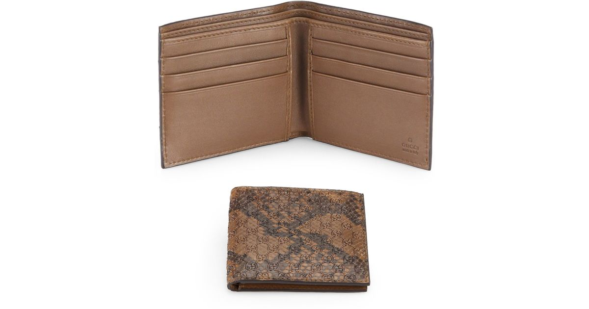 0a905825c34 Lyst - Gucci Snake Embossed Leather Wallet in Brown for Men
