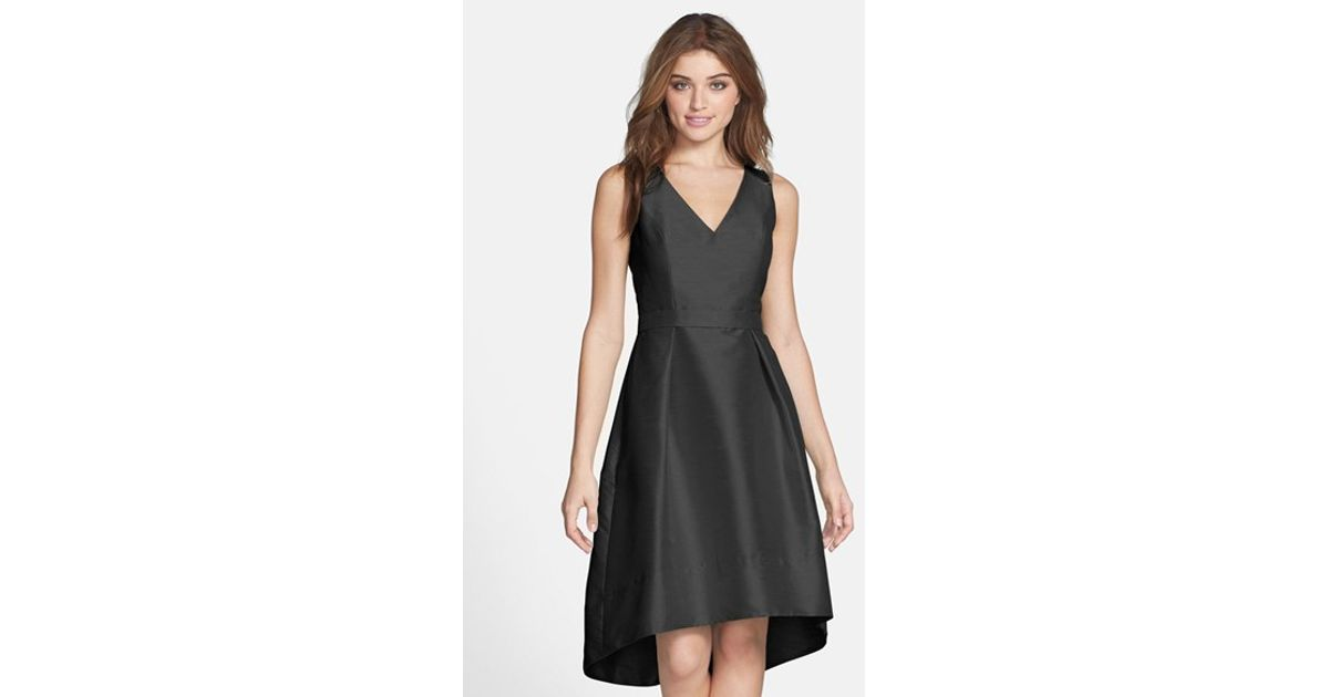 Alfred Sung Satin High Low Fit Amp Flare Dress In Black Lyst