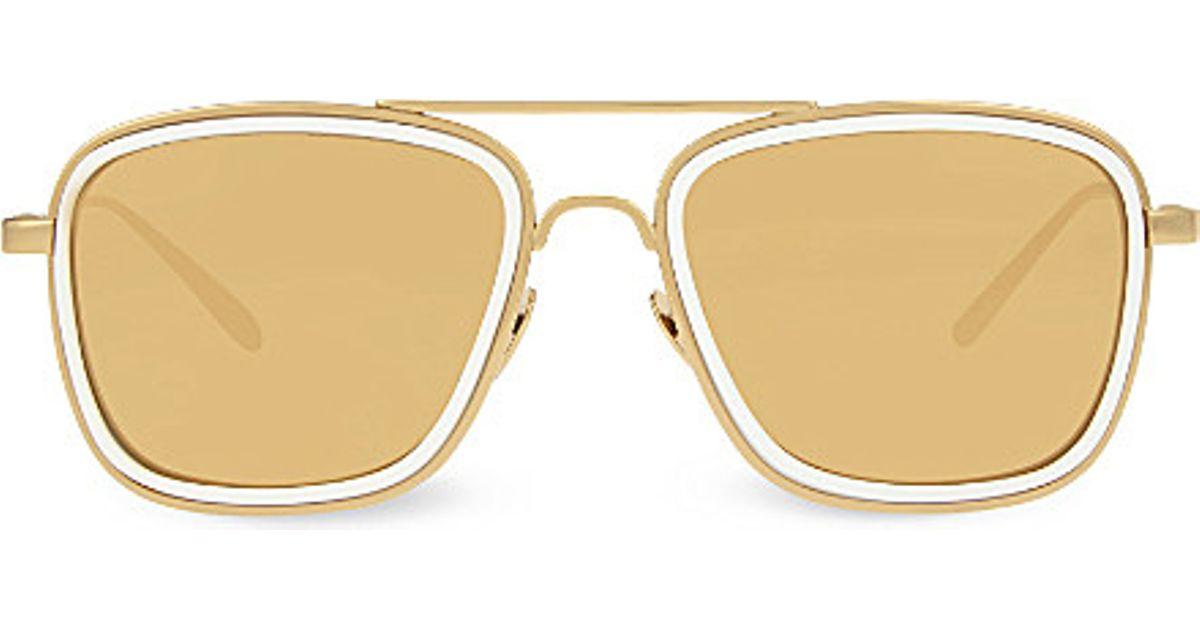95049de11c4 Lyst - Linda Farrow Lfl237 Square Aviator Sunglasses in Metallic