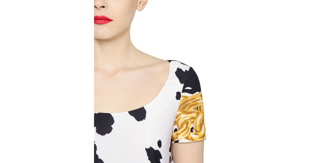 Lyst - Boutique Moschino Cow Printed Stretch Techno Crepe Dress in Black a41ee7791