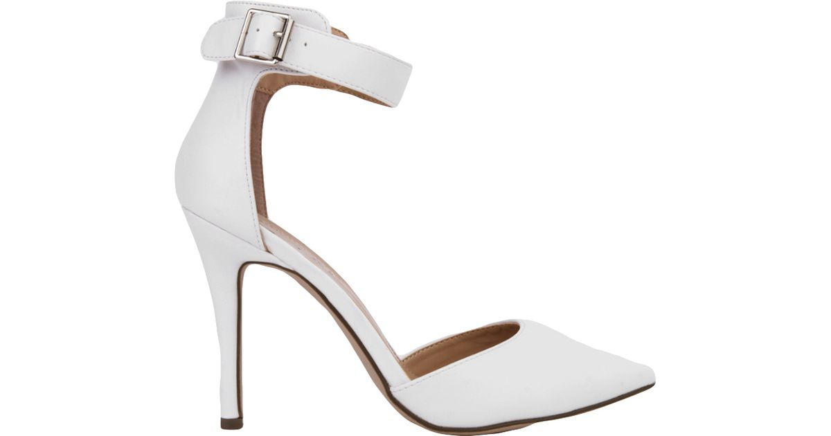 Pointed Toe White Ankle Strap Heels