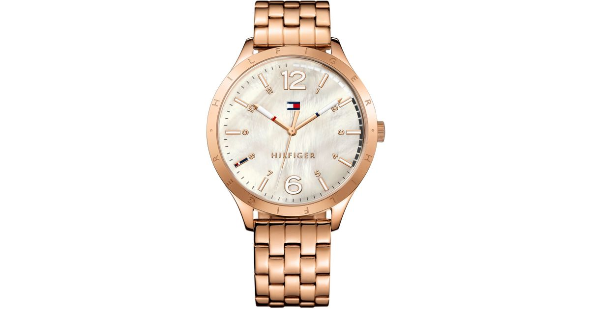 tommy hilfiger women 39 s rose gold tone stainless steel bracelet watch 40mm 1781548 in pink lyst. Black Bedroom Furniture Sets. Home Design Ideas