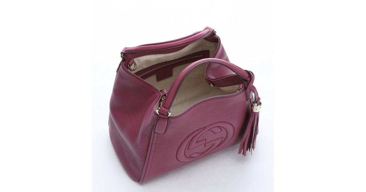 2866462edec428 Gucci Purple Leather Small 'soho' Convertible Tote in Purple - Lyst