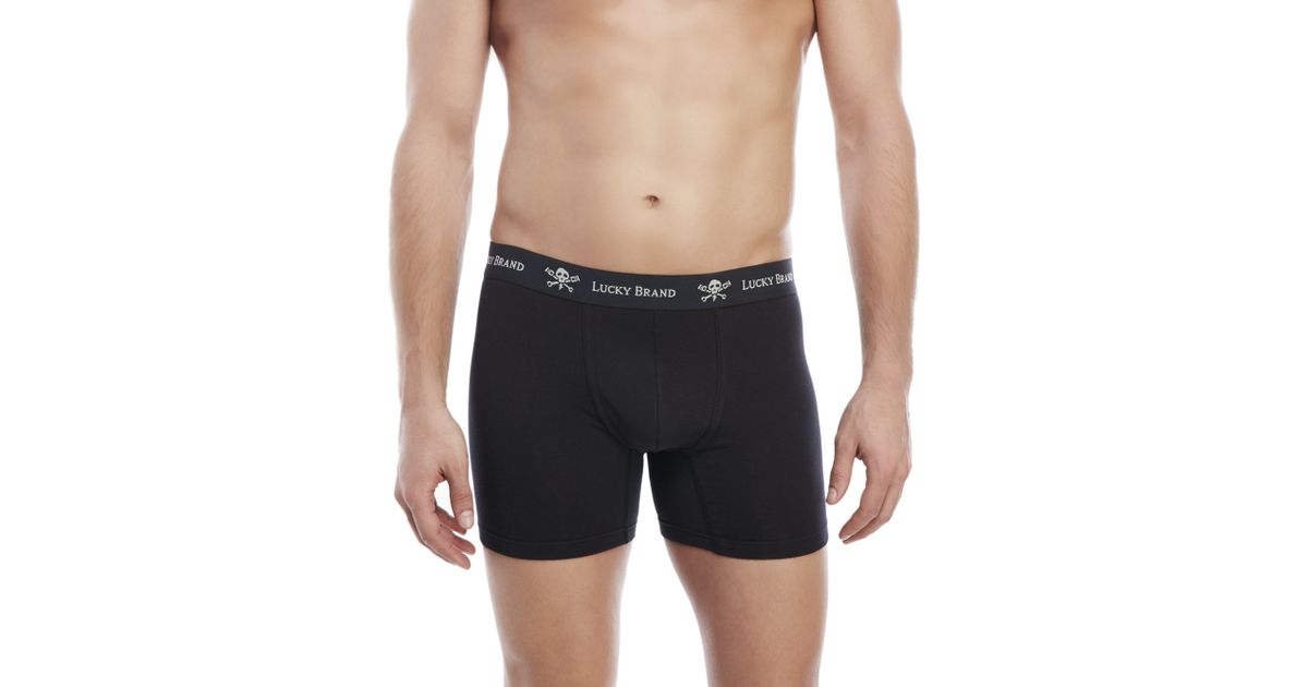 e766f4c19565 Lucky Brand Black Label 3-Pack Stretch Boxer Briefs in Black for Men - Lyst