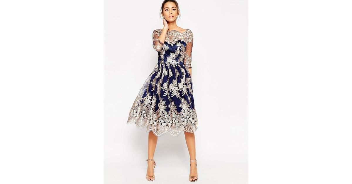 Lyst - Chi Chi London Premium Lace Midi Prom Dress With Bardot Neck ...