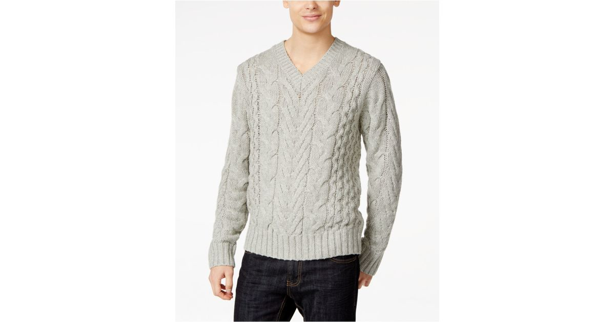 95fbaf2787 Lyst - DKNY Lux Cable Knit V-neck Sweater in Gray for Men
