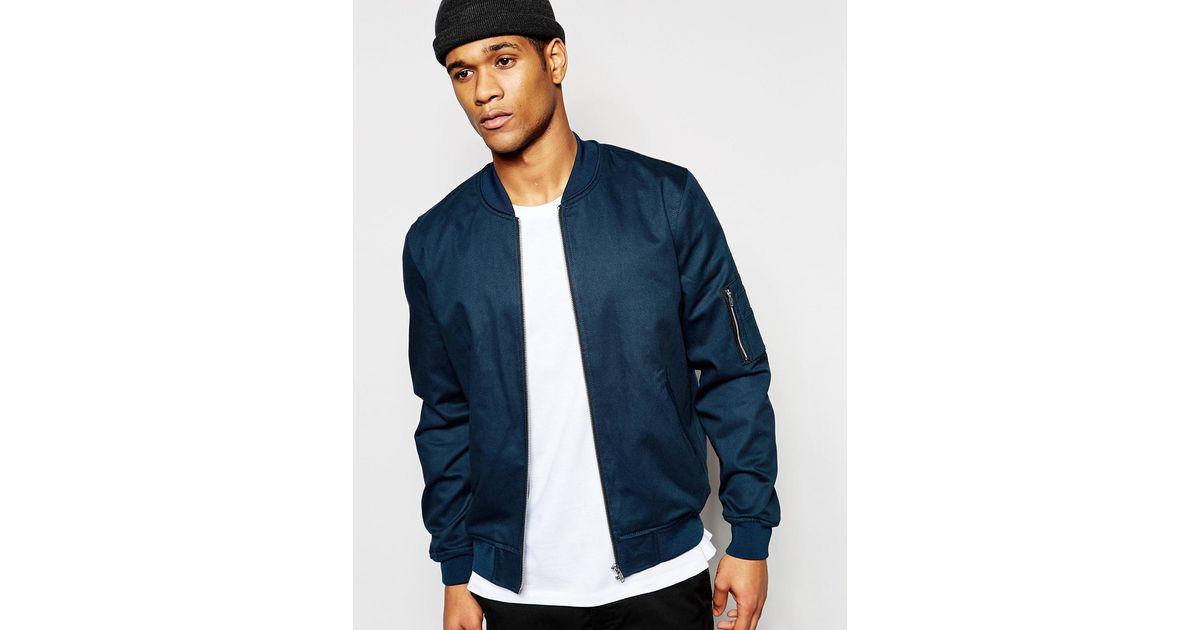 asos bomber jacket in teal in blue for men lyst